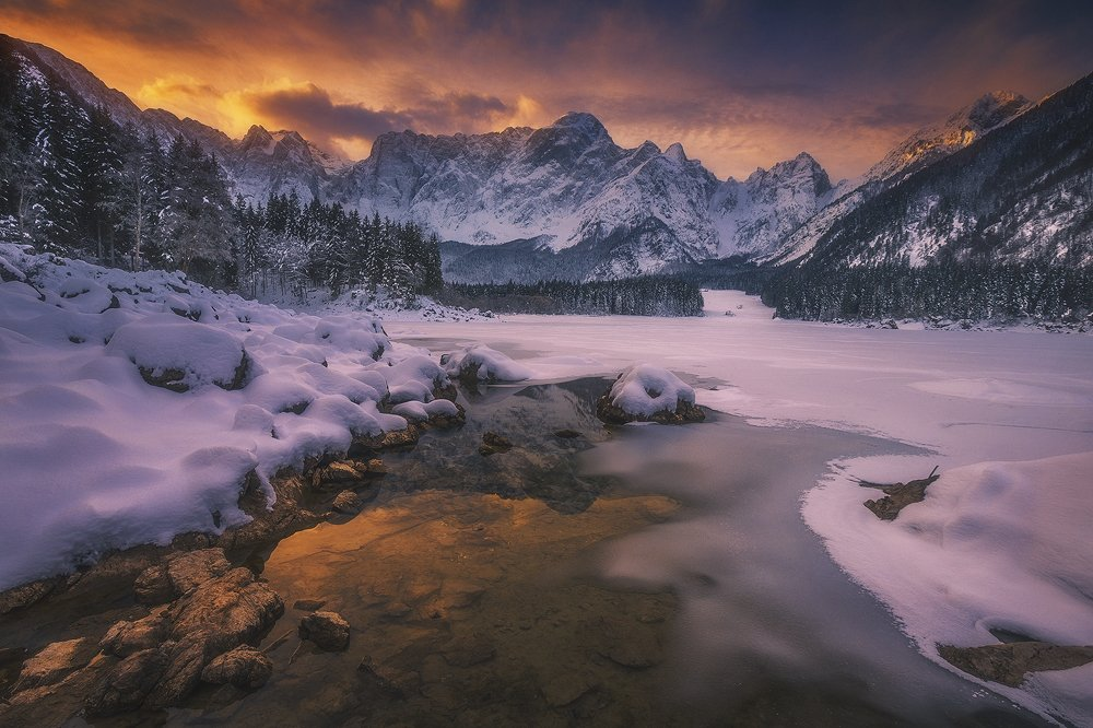 laghi di fusine italy alps mountain snow winter landscape, Roberto Pavic