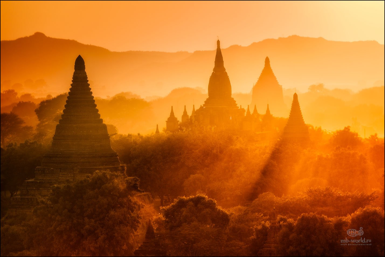 Бирма, Мьянма, Баган, закат, пейзаж, Михаил Воробьев