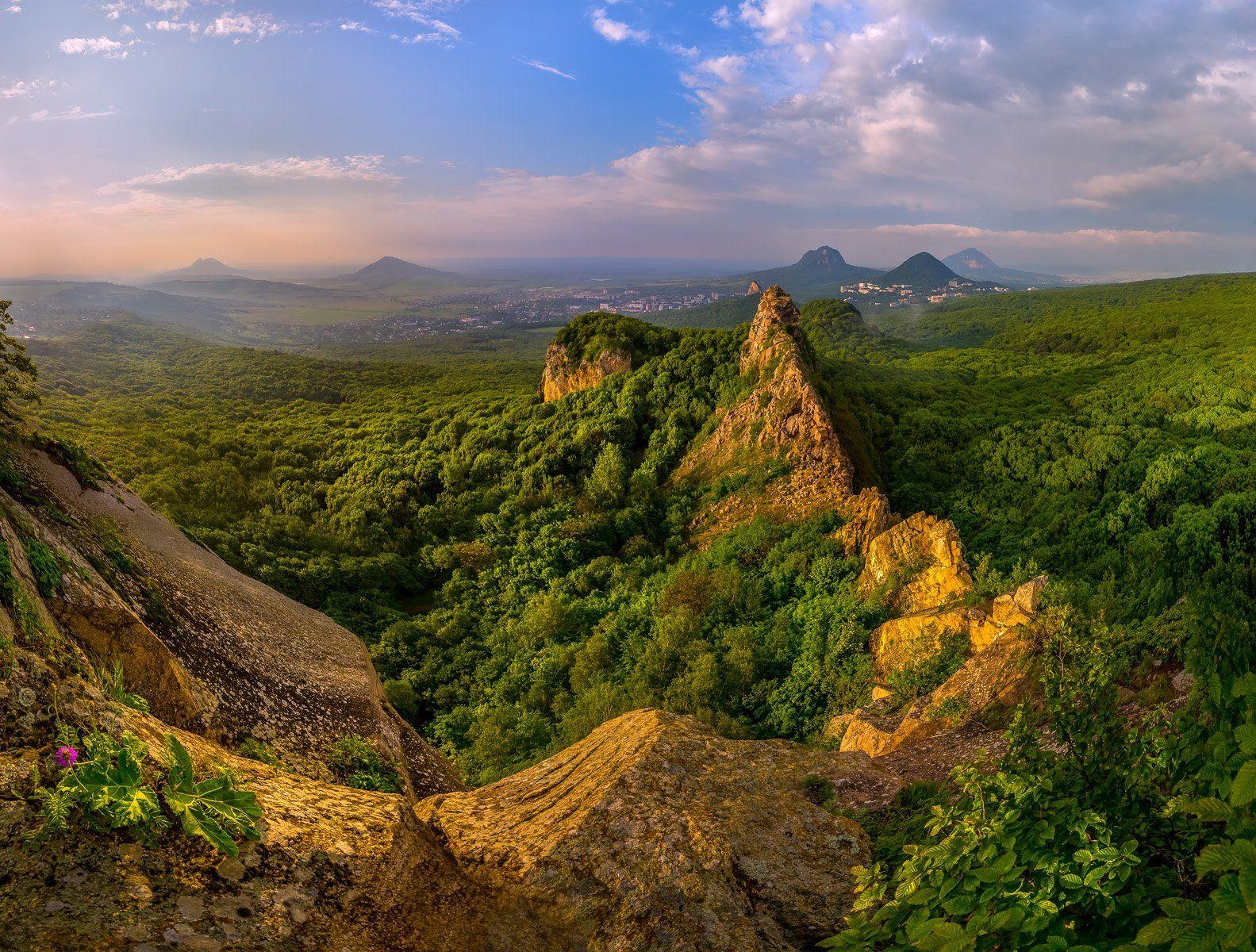 горы, острогорка, кавминводы, весна, скалы, лес, закат., Лашков Фёдор