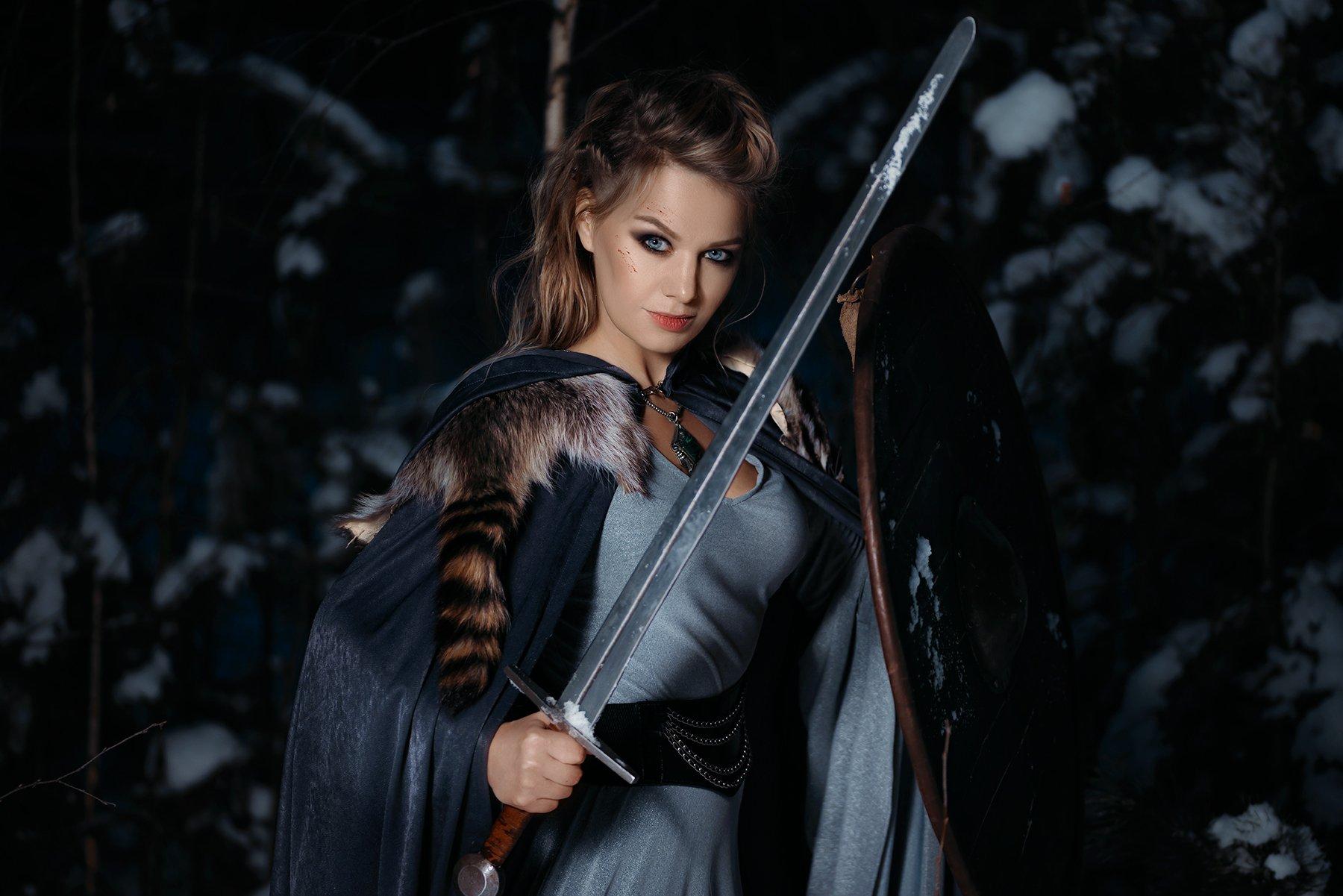 викинги, щит, меч, девушка, платье, портрет, 2016, зима, лес, скандинавия, Новицкий Илья