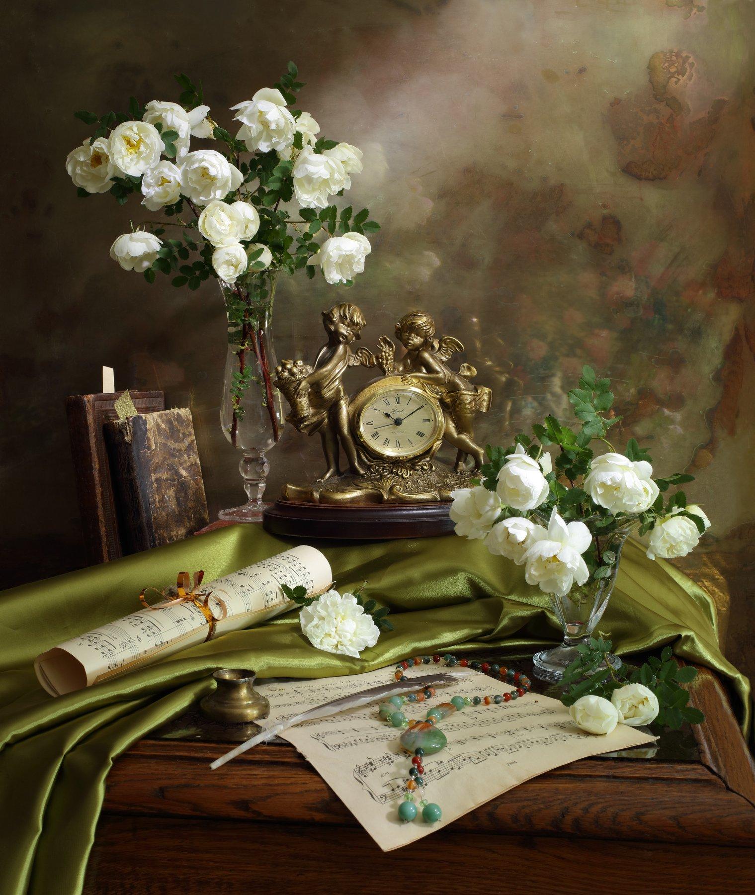 цветы, розы, часы, книги, Андрей Морозов