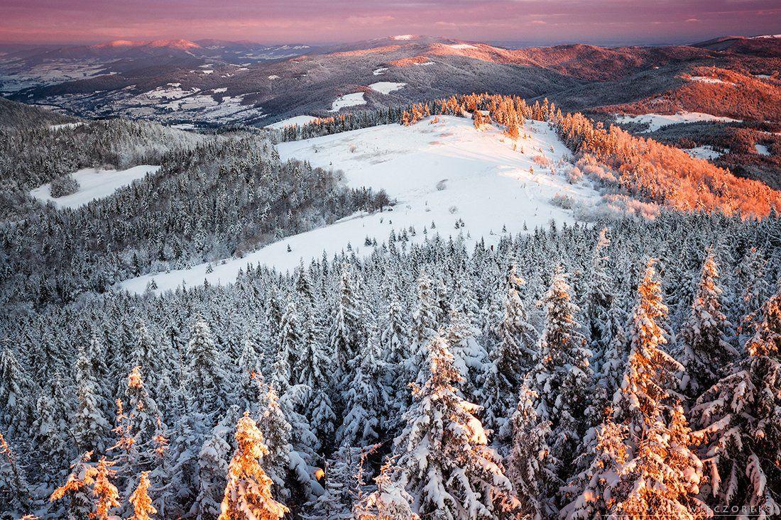 sunrise, poland, mountains, gorce, light, snow, winter, orange, Tomasz Wieczorek