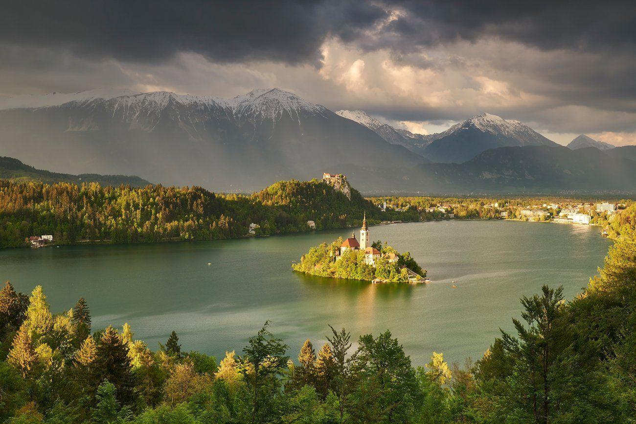 bled, lake, landscape, slovenia, rays, church, Jakub