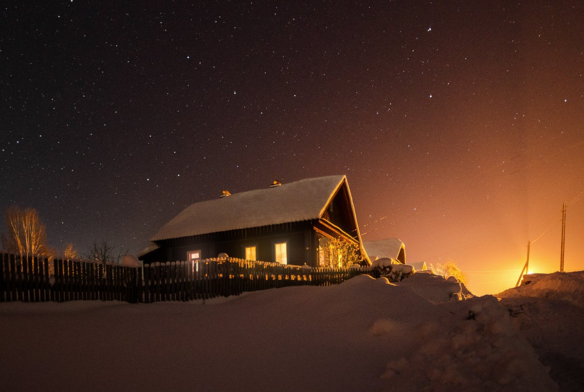 звезды,дом,небо,фонарь, Карепанов Евгений
