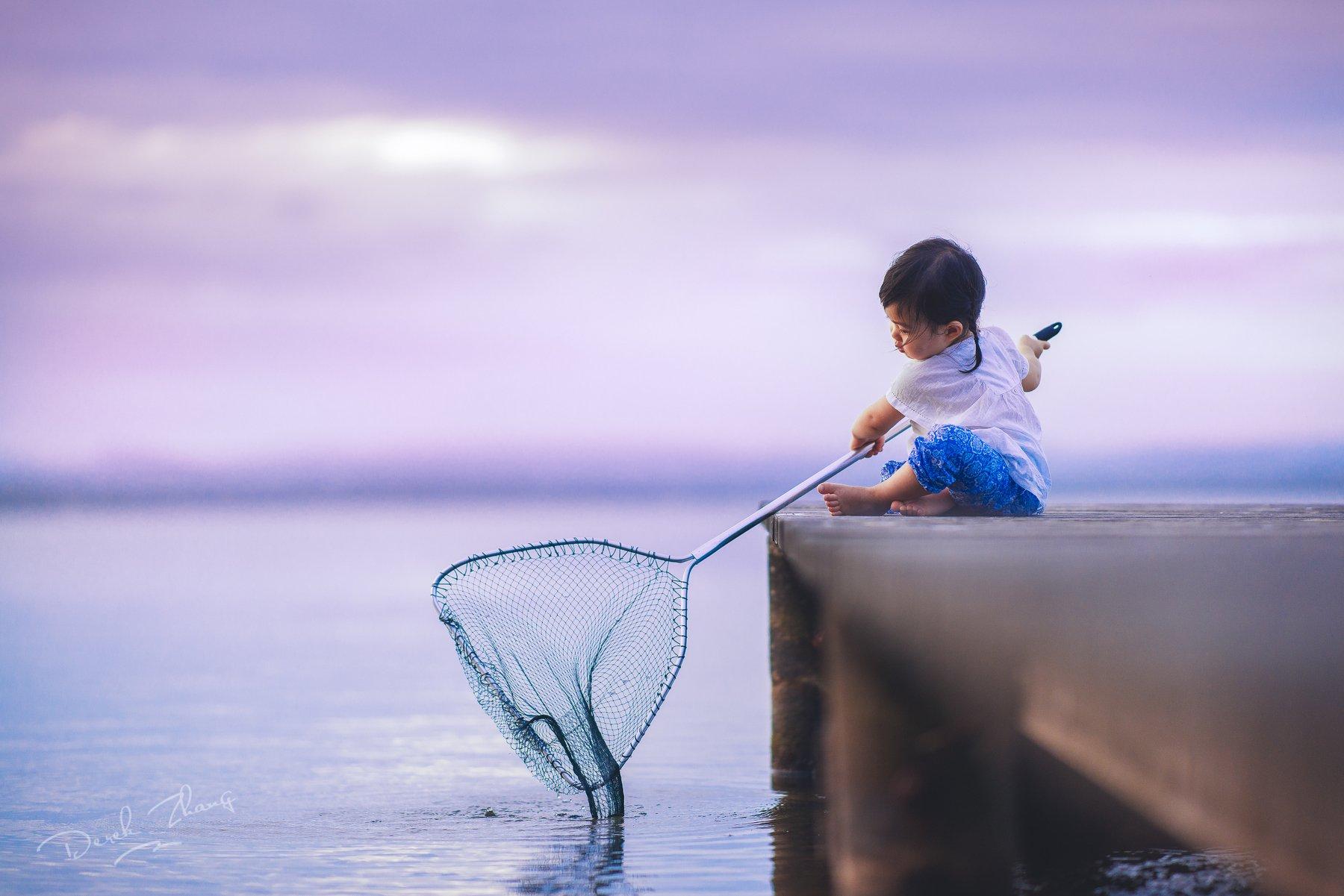 child, cute, sunset, lakeside, kid, moment, natural, light, Derek Zhang