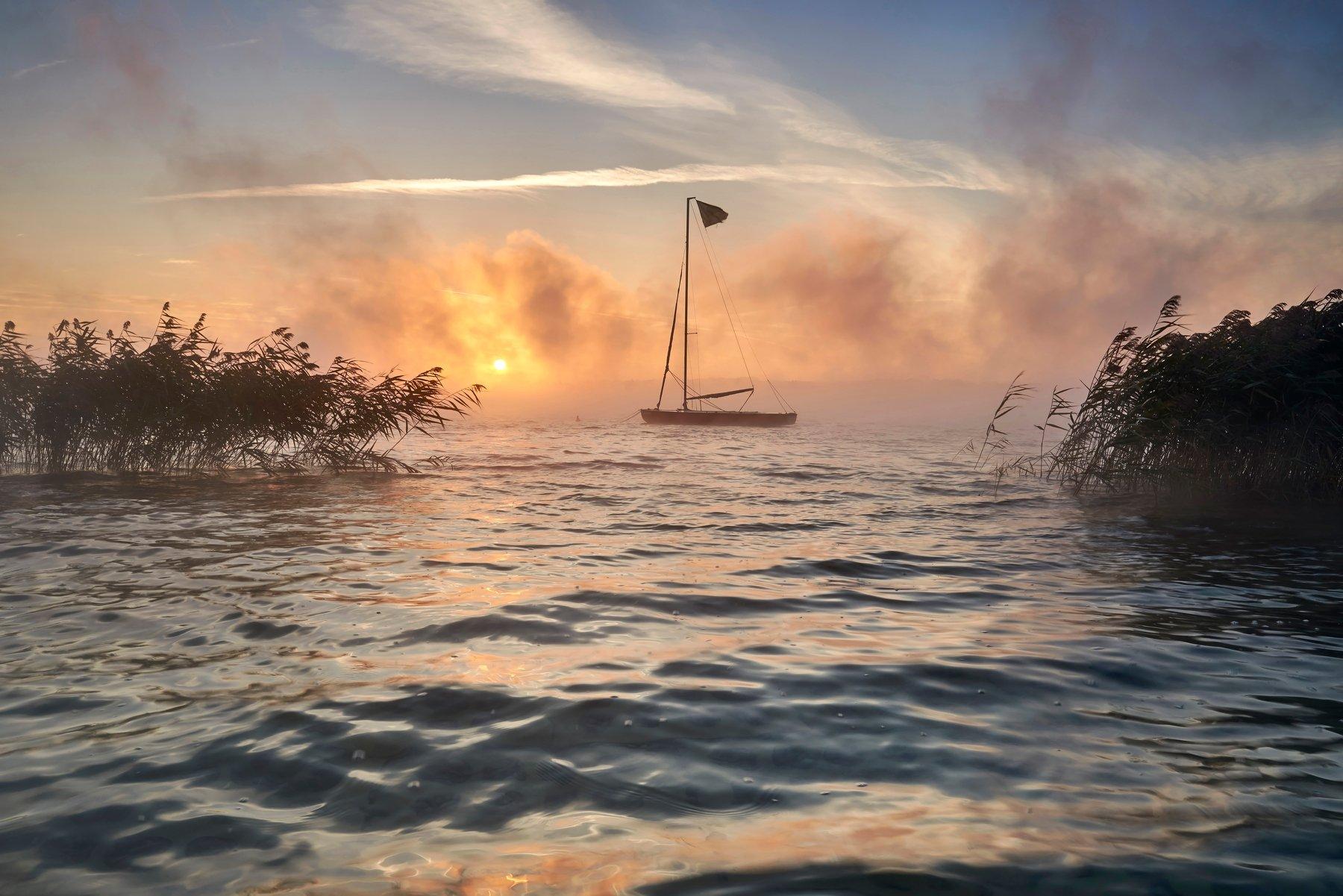 boat, morning, landscape, sunrise, Jakub
