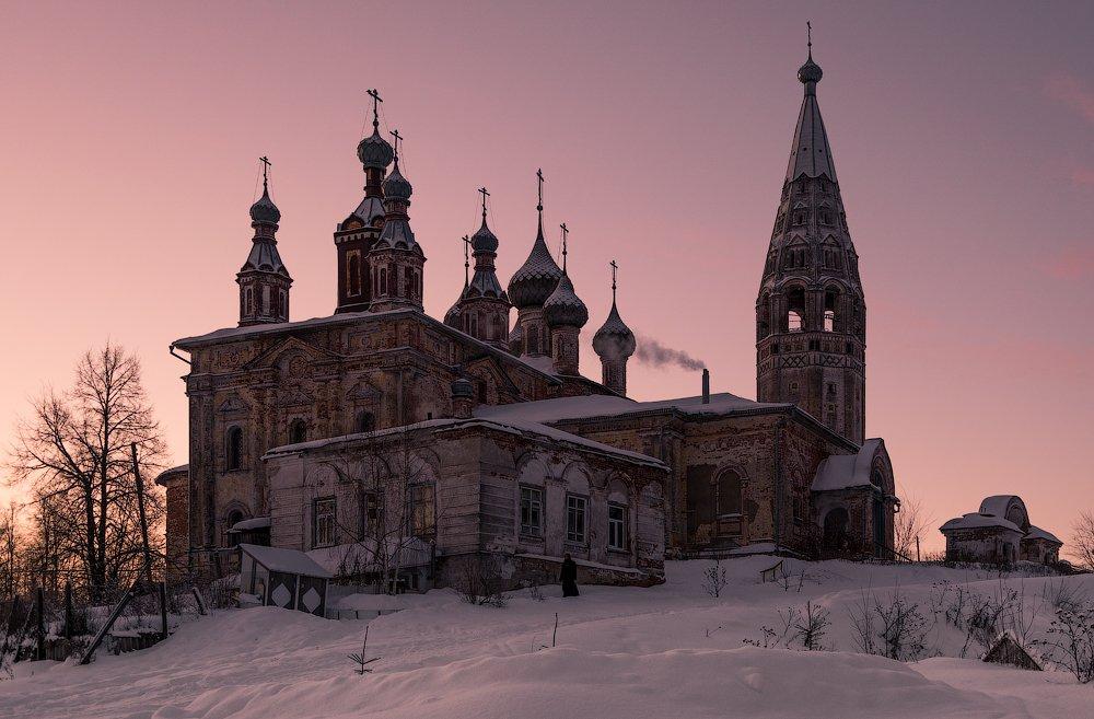 пейзаж, храм, рассвет, Станислав Казнов