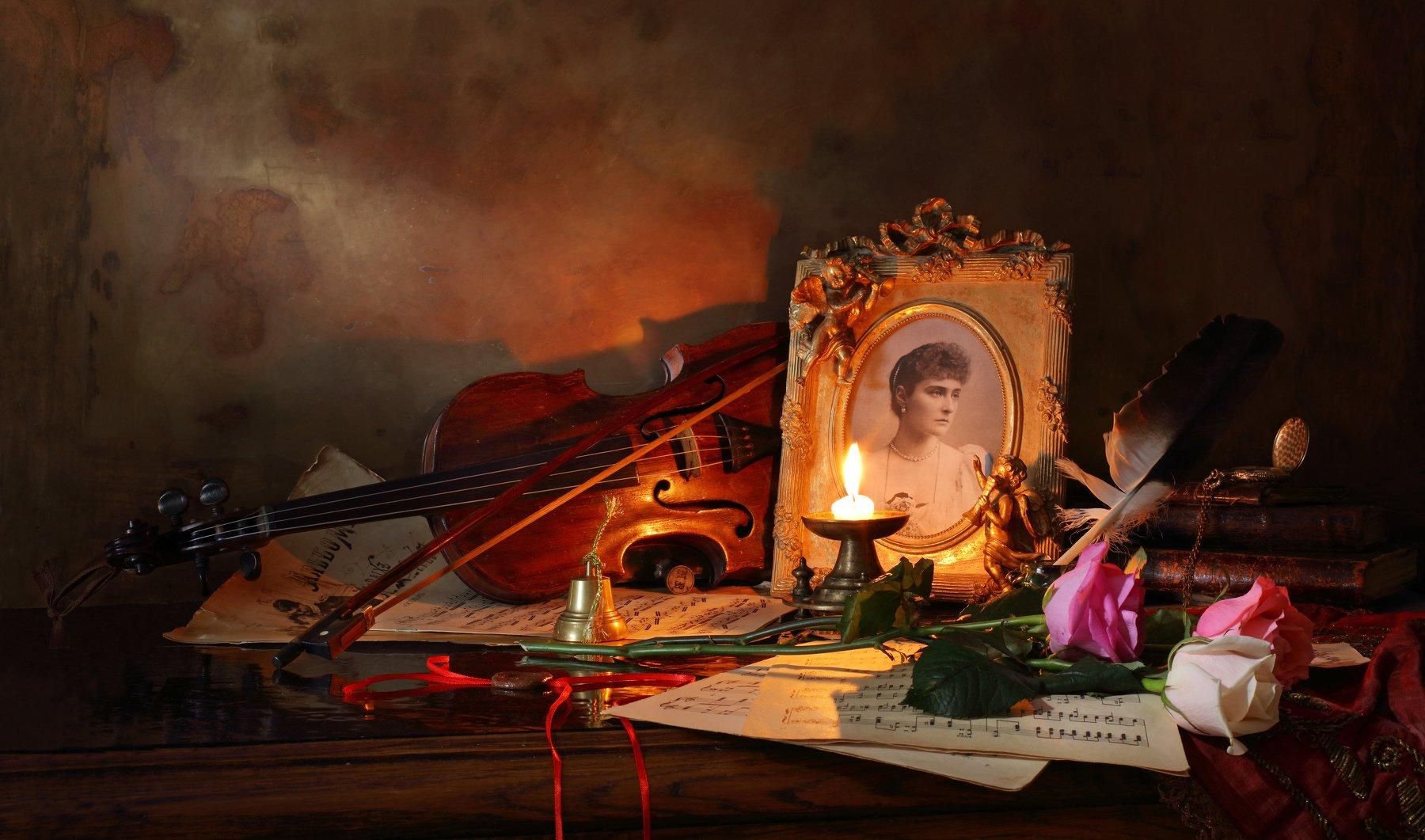 скрипка, музыка, портрет, свеча, розы, книги, Андрей Морозов