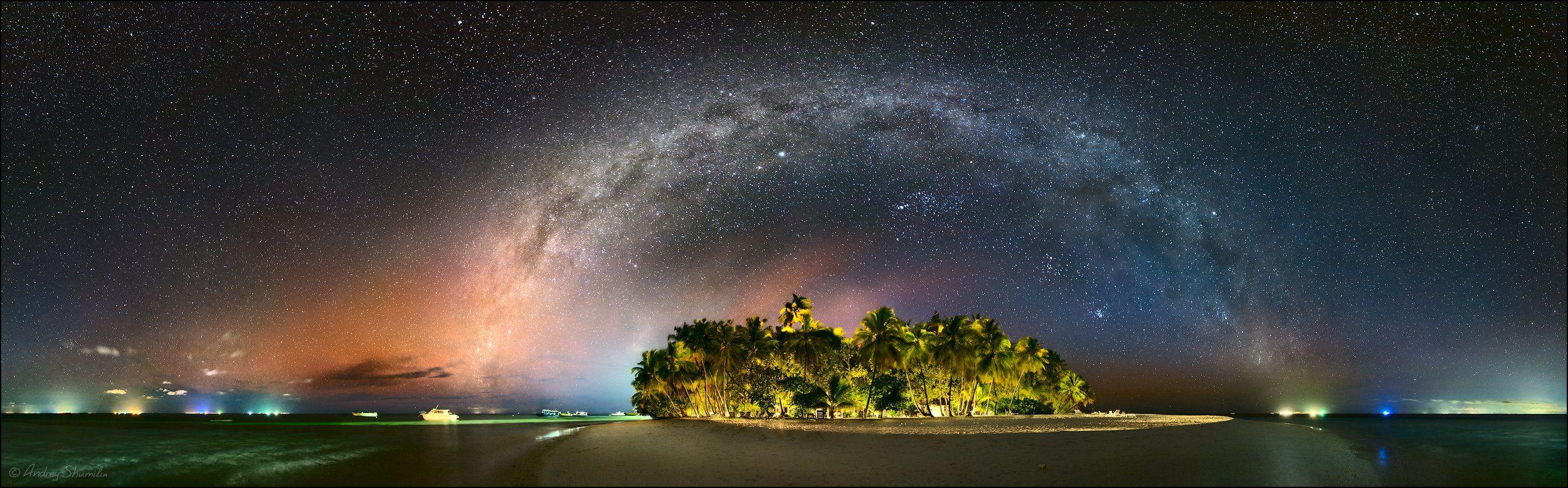 мальдивы, млечный путь, галактика, звезды, звездное небо, Андрей Шумилин