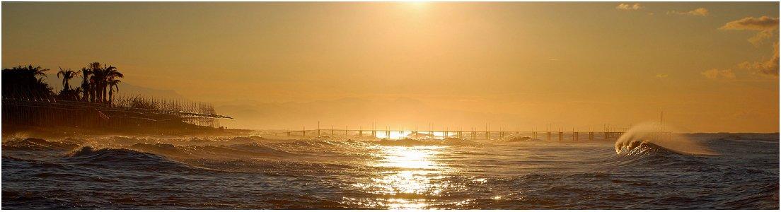 утро, волна, пирс, море_средиземное, VictorSe