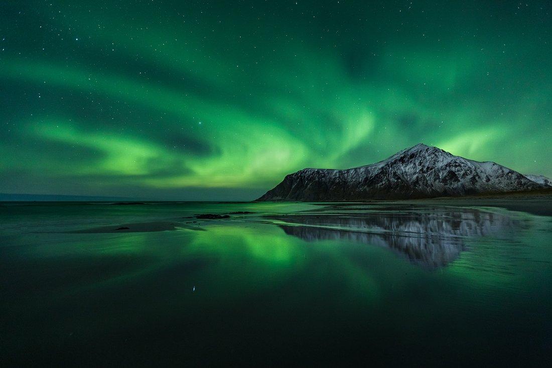 aurora, borealis, norway, winter, nothern, lights, lofoten, skagsanden, Kani Polat