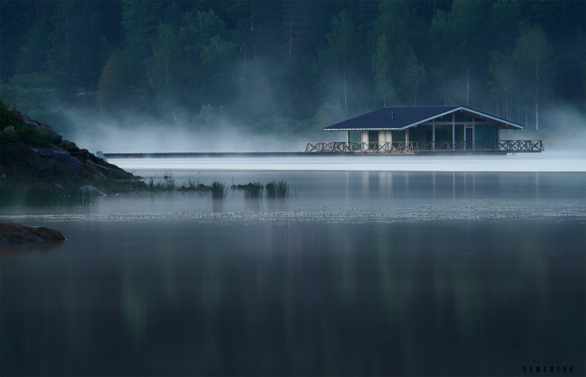 Ладога, шхеры, озеро, туман, пейзаж, одинокий дом, Семенюк Василий