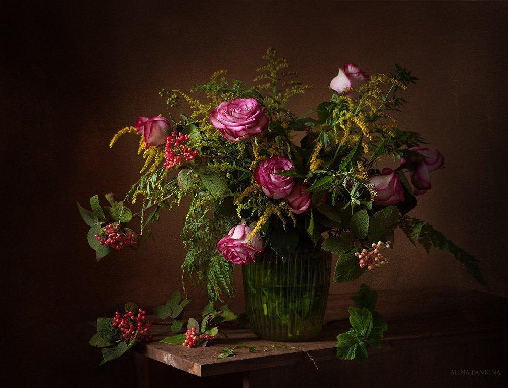 натюрморт, розы, полевые цветы, букет, лето, ваза с цветами, алина ланкина, Алина Ланкина