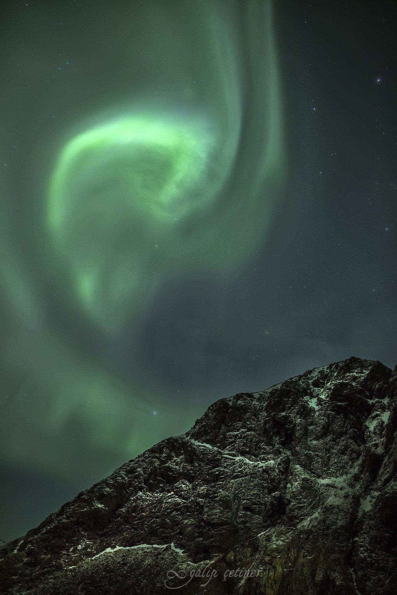aurora borealis, aurora, night, landscape, landscapes, northern lights, norway, light, mountain, Galip Çetiner