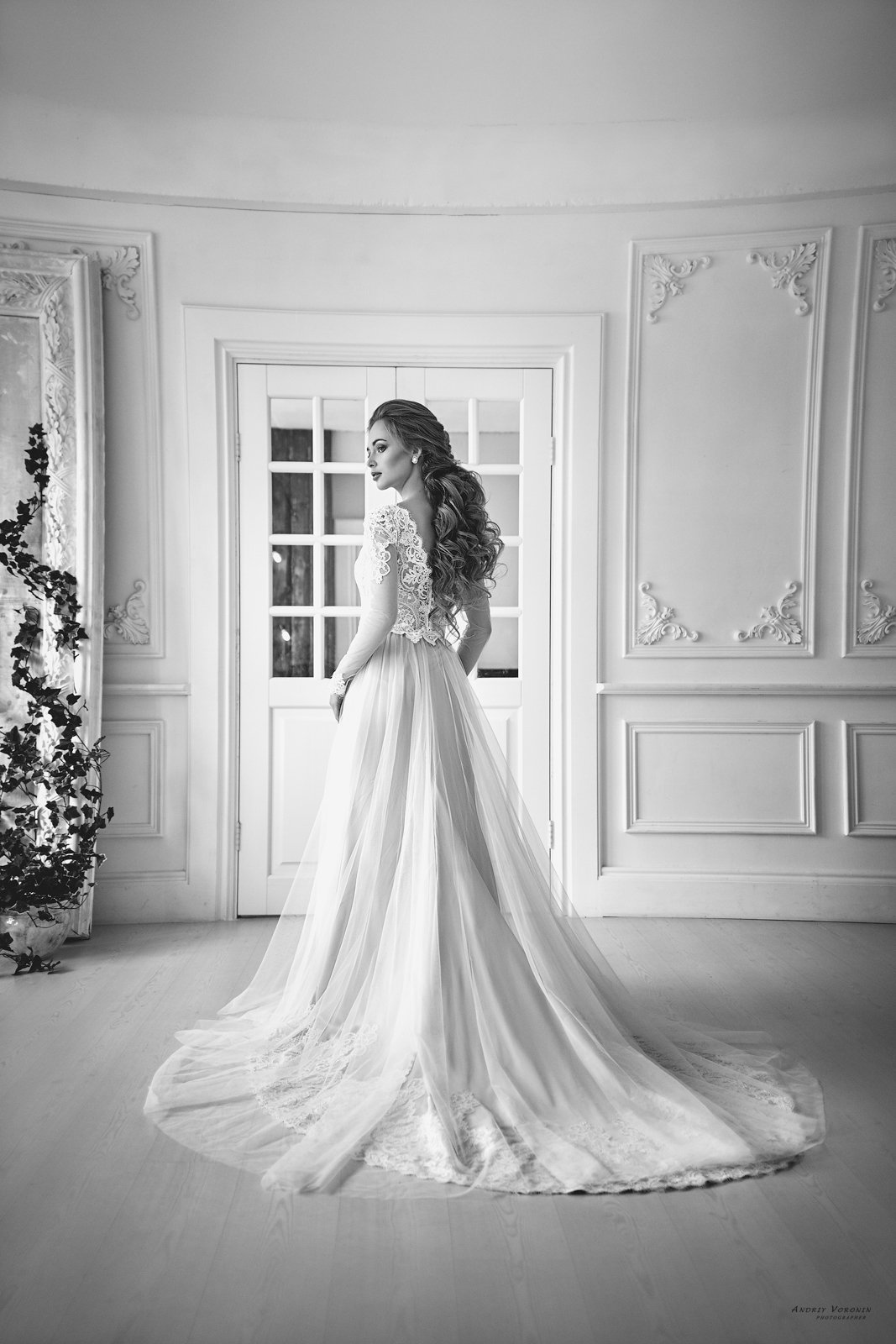 свадьба,модель,платье,стиль,красота,девушка,черно-белое,, Воронин Андрей