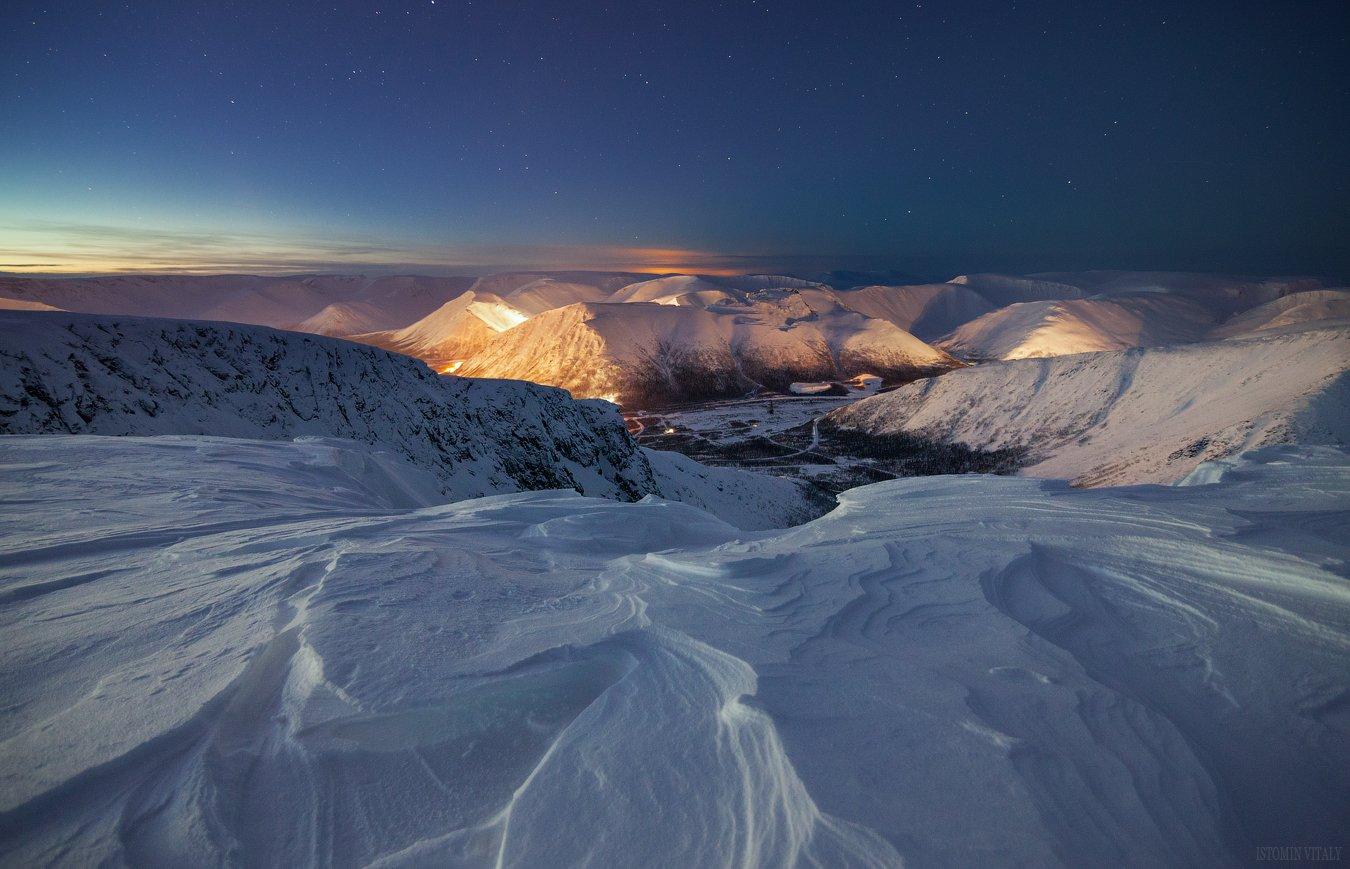 пейзаж,хибины,горы,россия,сумерки,ночь,свет,зима,снег,звезды, Истомин Виталий
