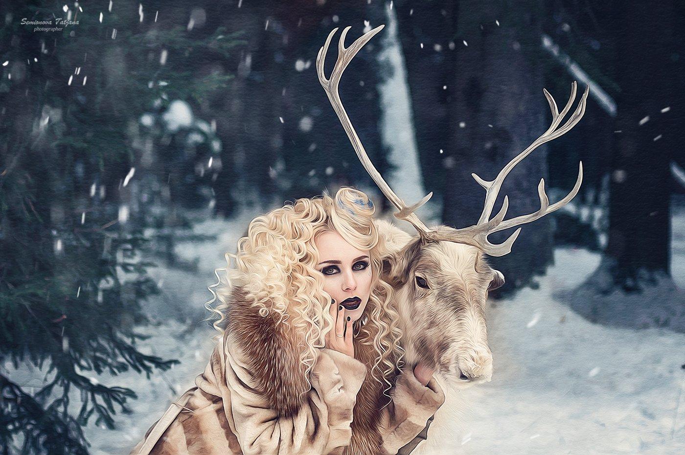 Олень, красота, зима, снег, Семенова Татьяна