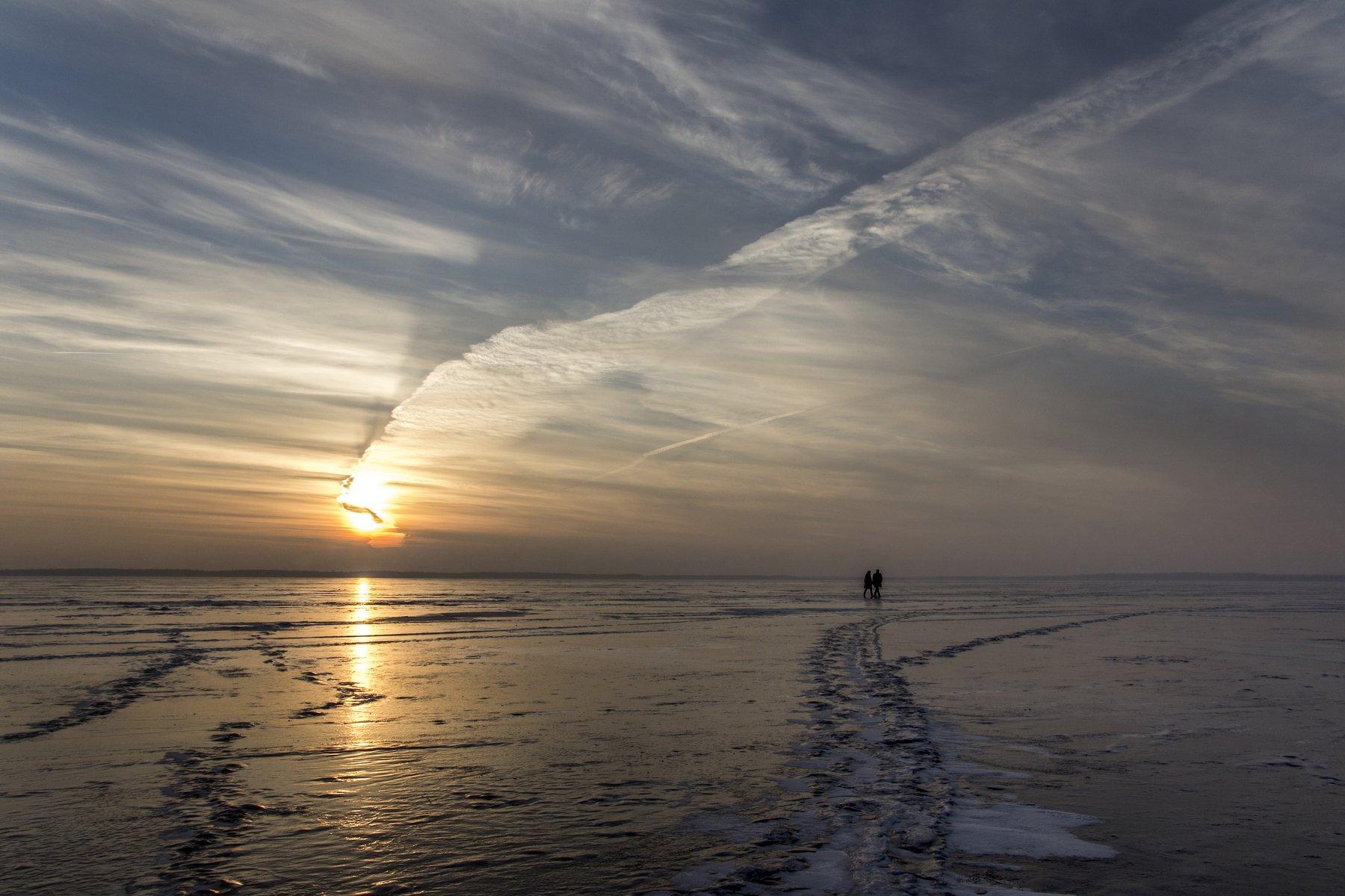 ice, couple, sunset, clouds, Zenonas Mockus