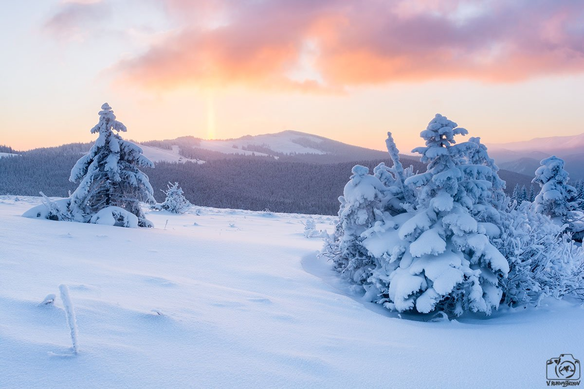 украина,карпаты, горы, кукул, зима, рассвет, снег, мороз,, Рукомойников Валентин
