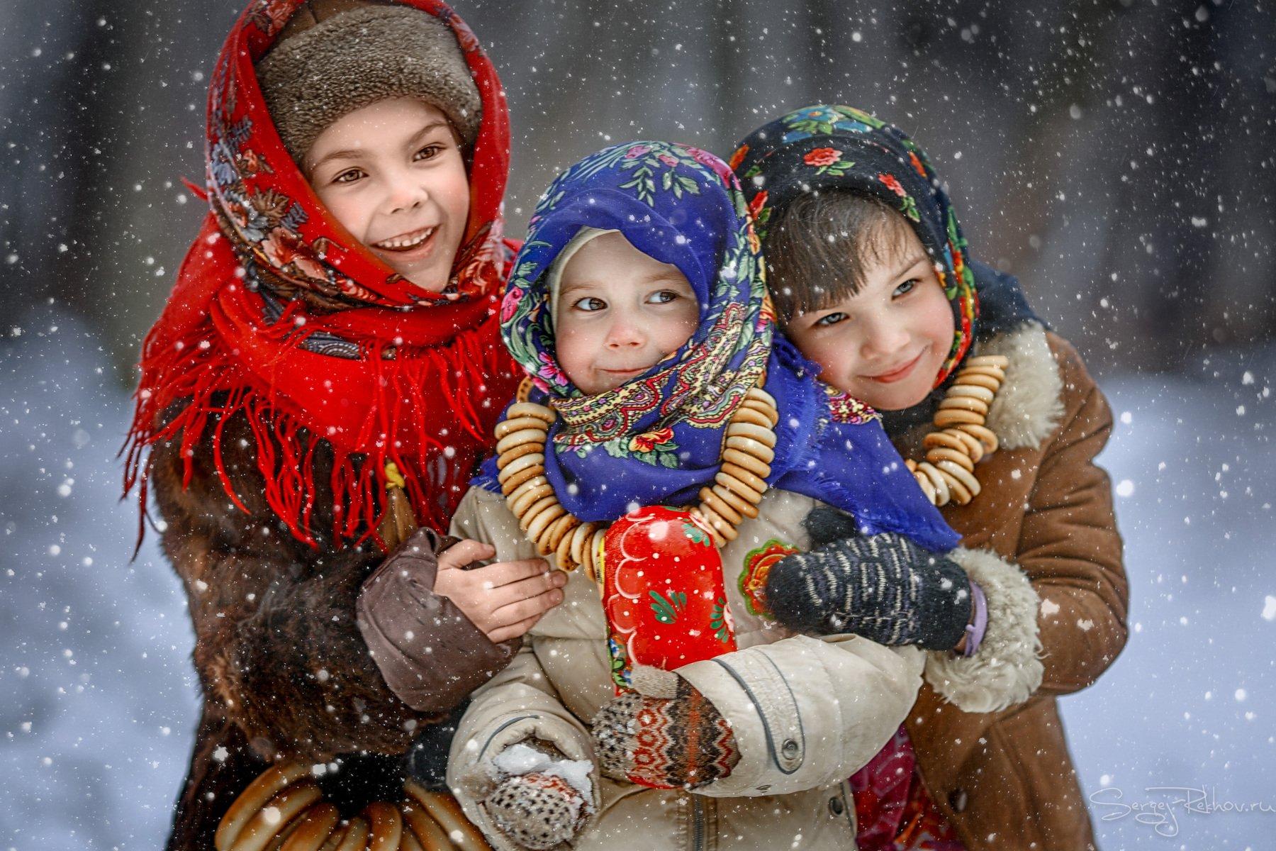 девочки, масленица, радость, праздник, зима, снег, Сергей Рехов
