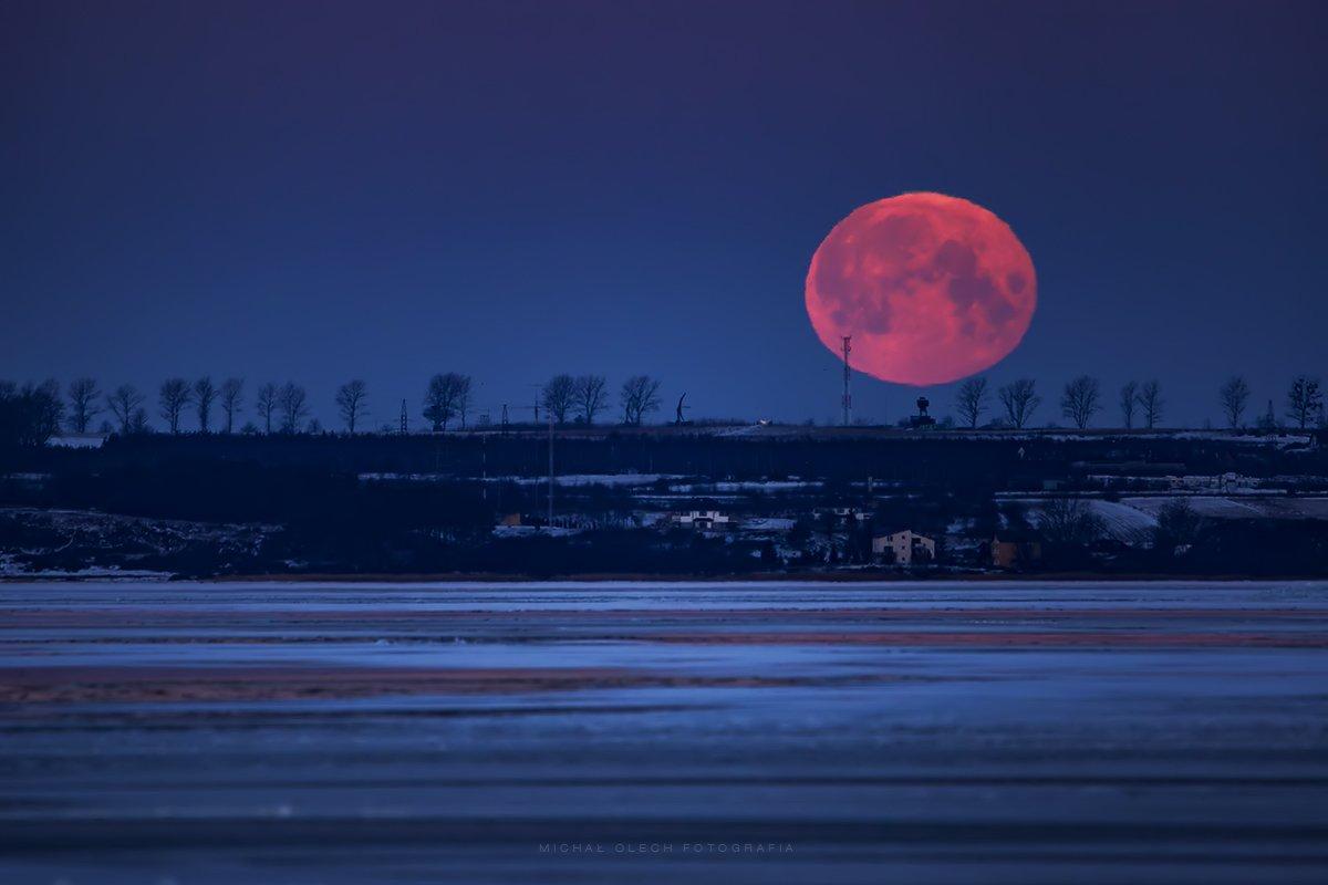 moon, night, puck bay, poland, baltic sea, польша, балтийское море, Michał Olech