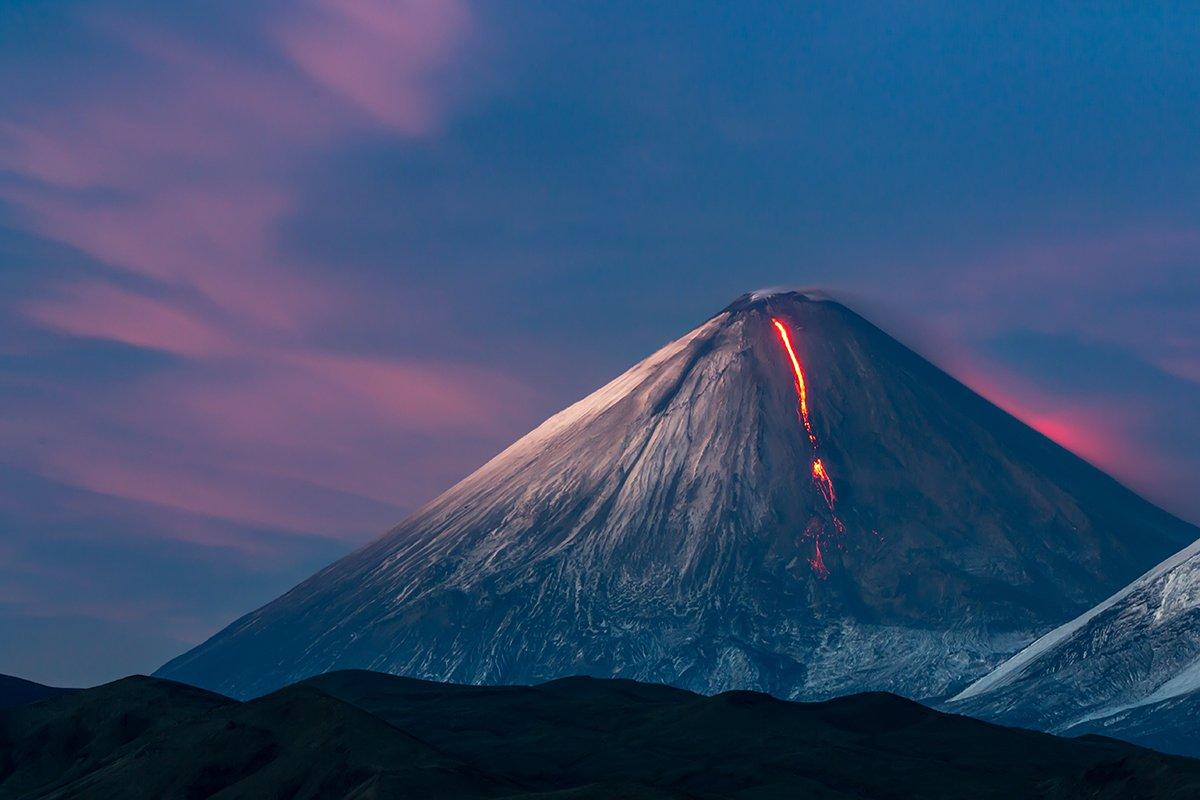 камчатка, вулкан, извержение, лава, закат, огонь, природа, пейзаж,, Денис Будьков
