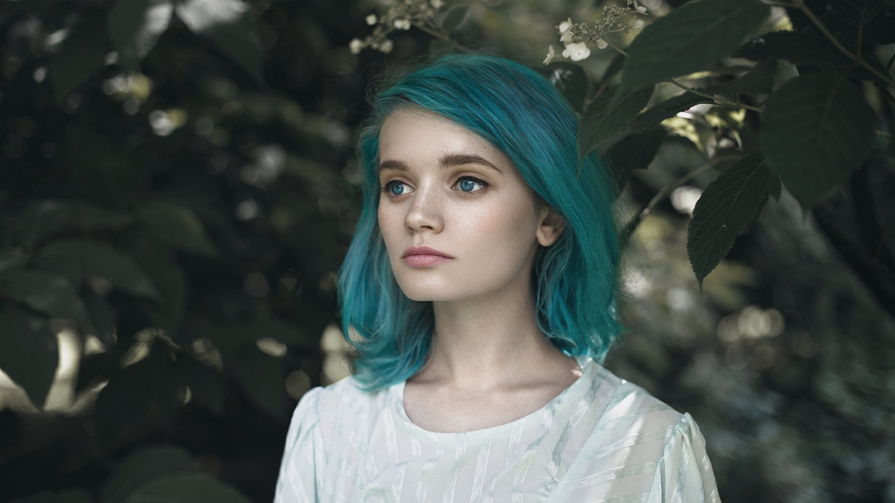 blue hair, nymph, forest, hipster, blue eyes, sad, saddness, summer, silence, Наташа Янкелевич