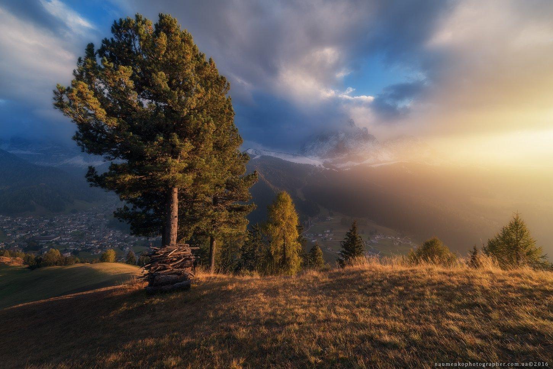 гардена, италия, доломиты, cассолунго, сельва, горы, долина, альпы, пейзаж, небо, путешествия, природа, курорт, юг, доломитовые, альпийский, синий, горы, тироль, трентино, ортизеи, пик, рок, высокий, осень, европа, снег, облака, вид, панорама, деревня, Александр Науменко