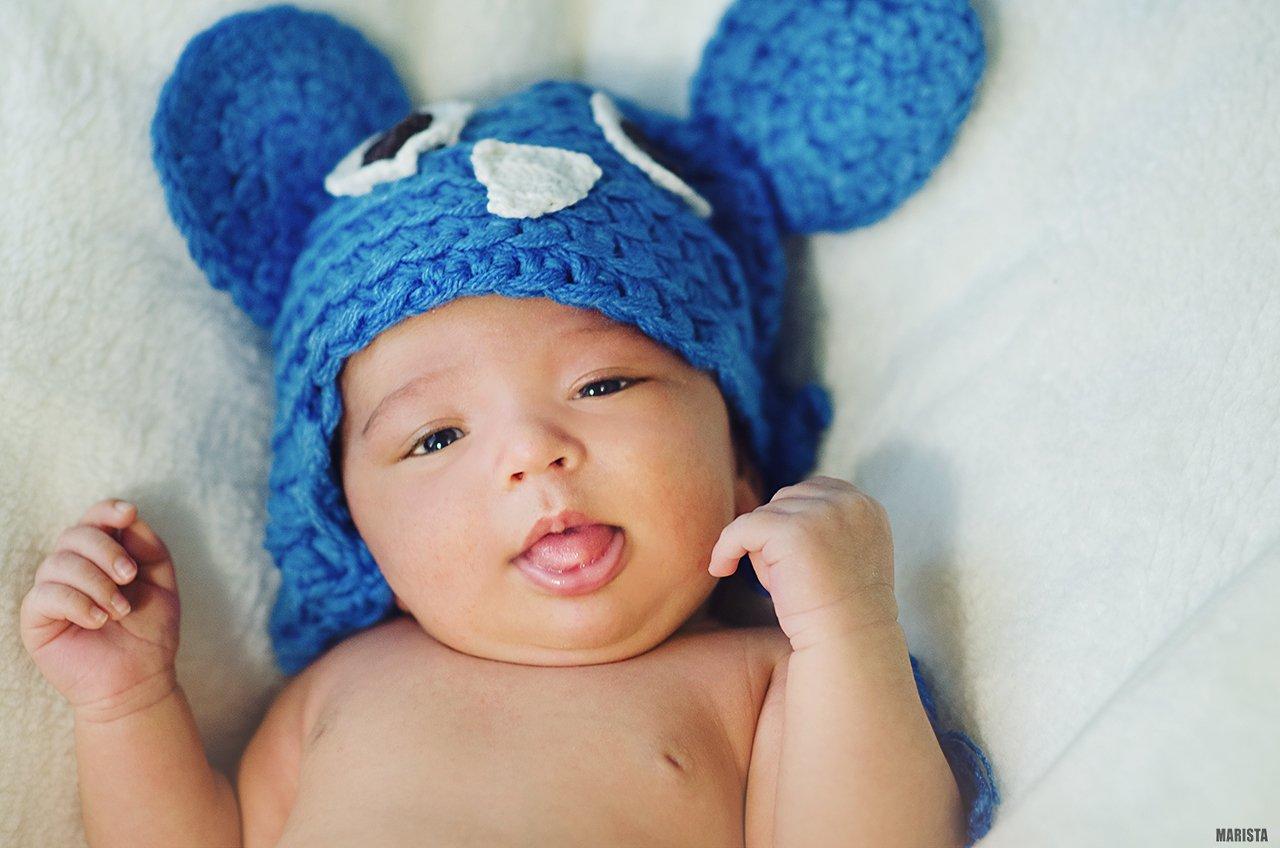 ребенок, Микки, новорожденній, портрет, мальчик, шапка, уши, улыбка, Мария Стадникова
