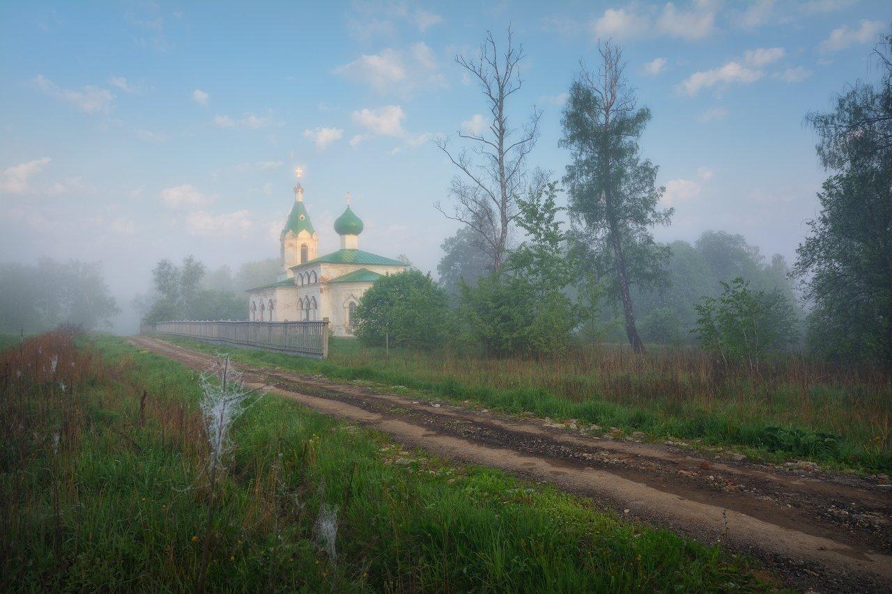 пейзаж, пейзажная съемка, утро, туман, храм, май, майское утро, свежесть, молодая зелень, никон, landscape, may, fog, morning, church, Жмак Евгений