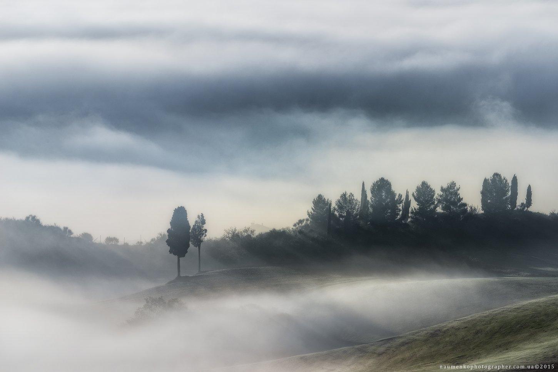 европа, италия, тоскана, тосканский, орча, пейзаж, панорама, туман, красота, страна, кипарис, рассвет, ферма, дом, поле, сад, холм, холмы, дом, итальянский, легкий, утро, загадочный, природа, дорога, провинция, декорации, живописный, восход, дерево, Александр Науменко
