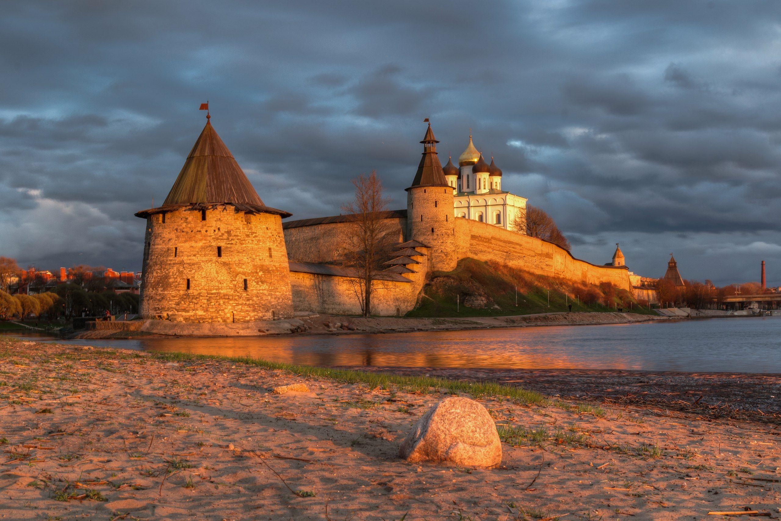 Псков, Кремль, Кром, крепость, история, реки, река, пскова, Великая, небо, закат, Мержанов Дима
