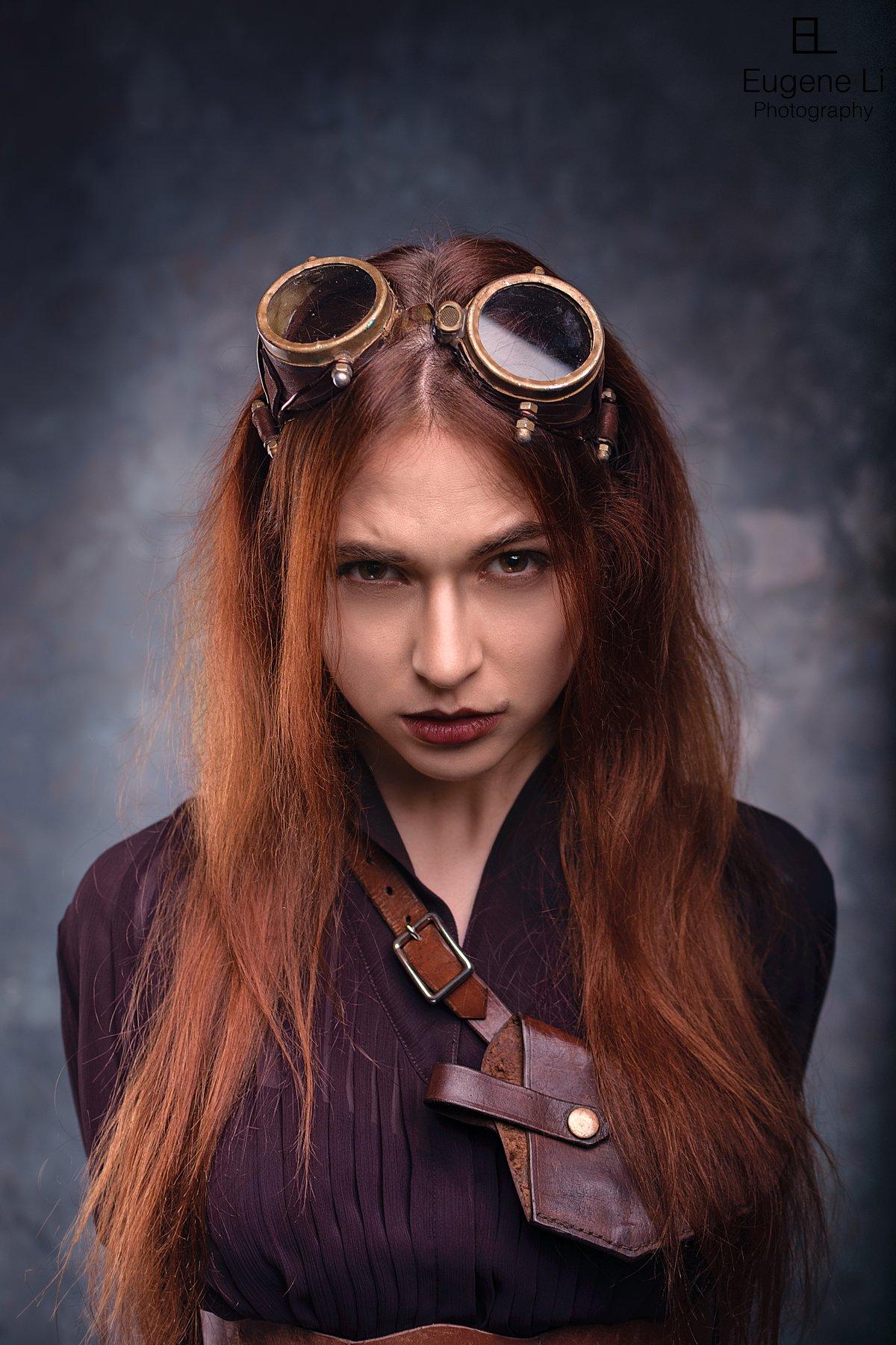 портрет, девушка, стимпанк, Евгений Ли