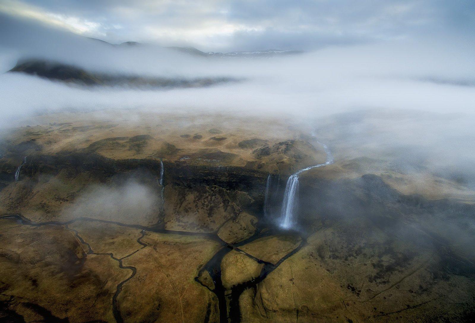 сильяналандфосс водопад исландия дронофотография, Alex Mimo