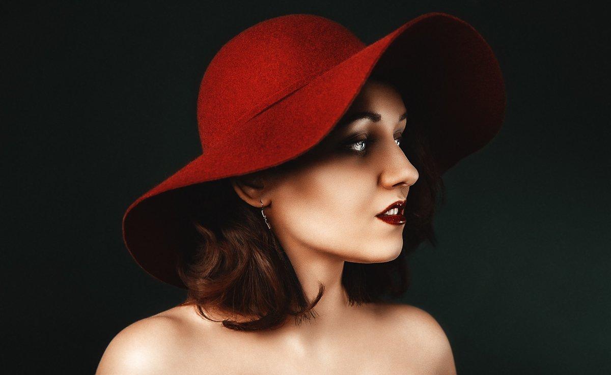 шляпа, контраст, портрет, студия, свет, цвета, яркий, женский портрет, женщина, в студии, постановка, Маховицкая Кристина