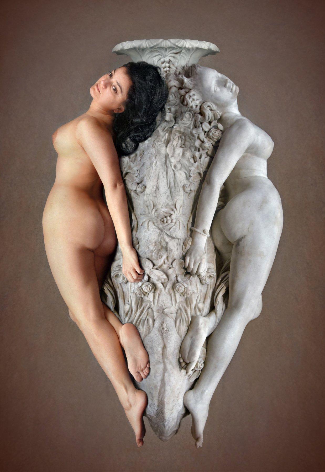 marble, stone, sculpture, art, museum, model, posing, nude, collage, orsay, paris, live, statue, Endegor