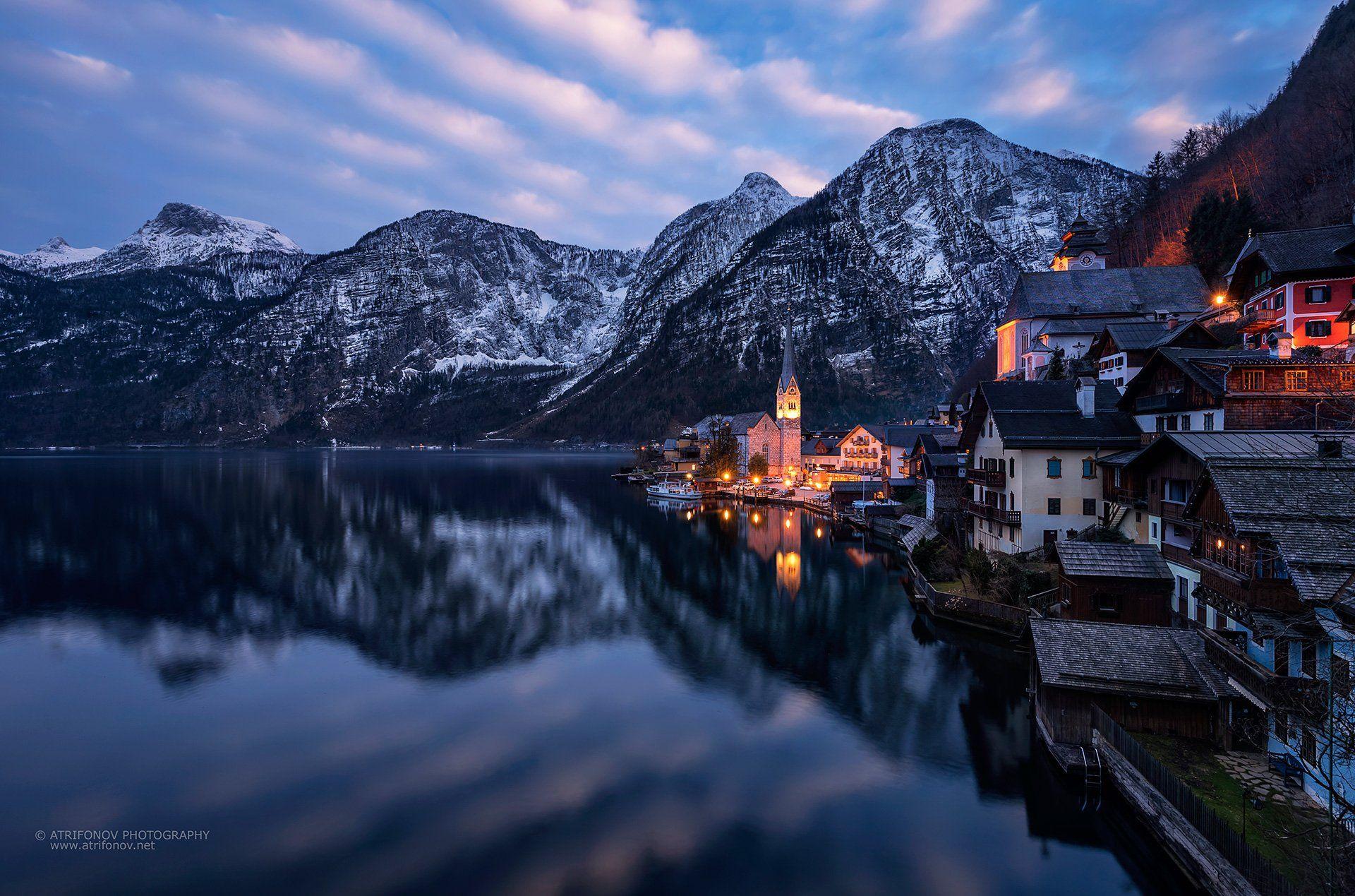Hallstatt, Austria, Upper Austria, village, Alps, mountains, lake, lights, cityscape, time blending, church, reflections, water, snow, winter, Andrey Trifonov