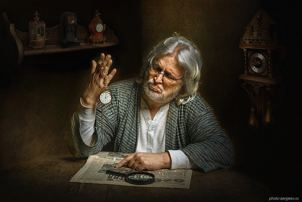мужчина,часы,часовщик,время,арт,фото-арт, Сергеев Александр