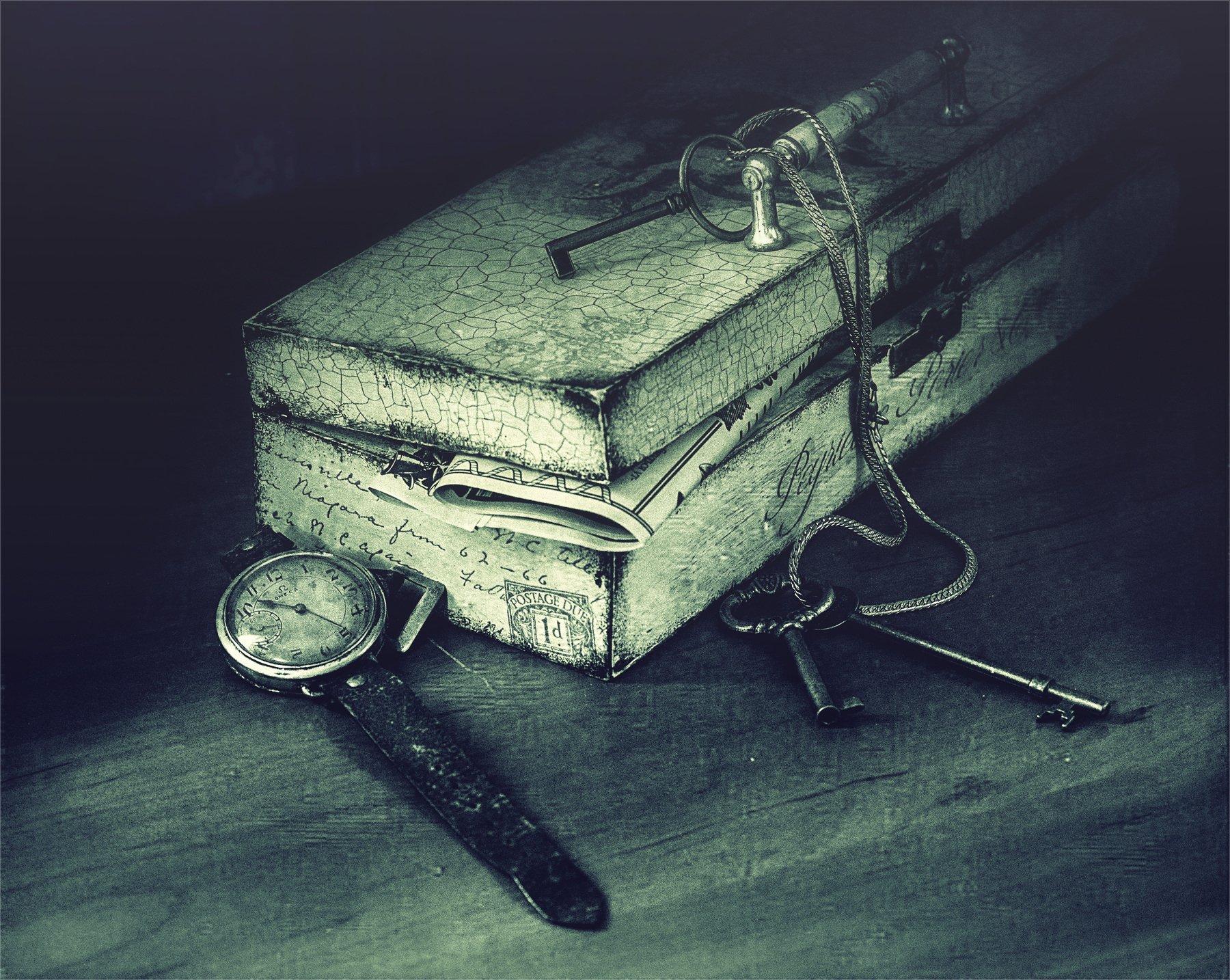 still life, натюрморт, винтаж, ретро,  шкатулка, часы, ключи, Михаил MSH