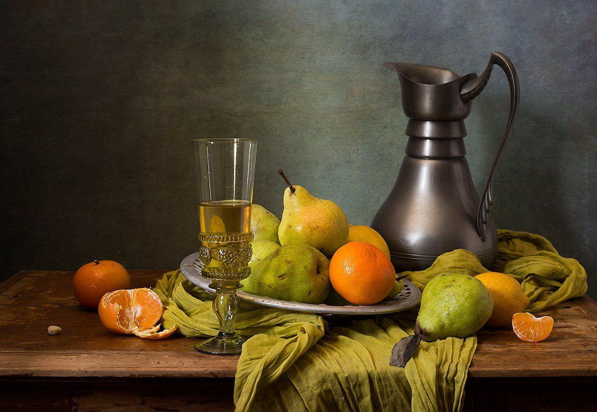 груши, зеленые, мандарины, ремер, вино, Карачкова Татьяна