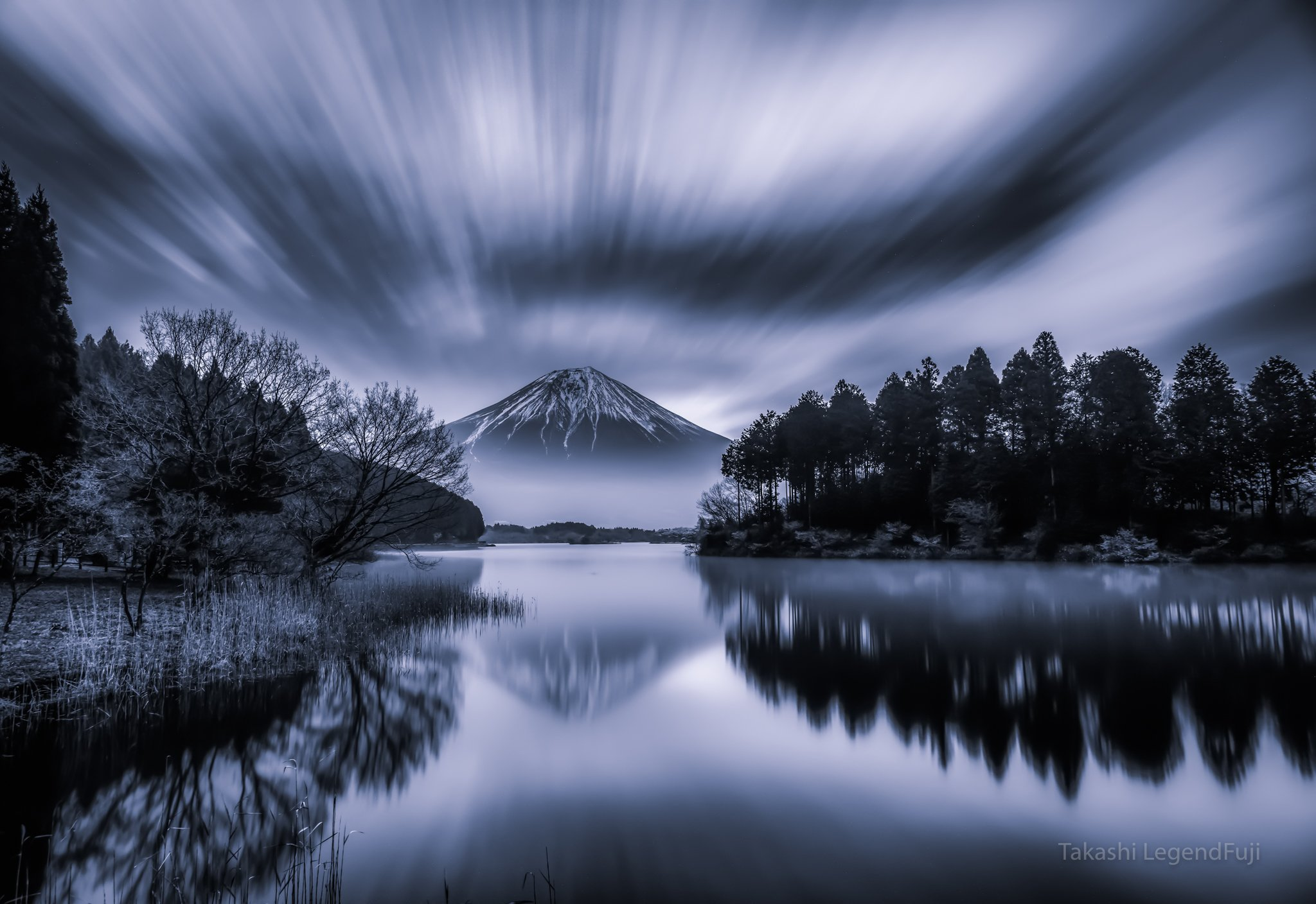 fuji,mountain,japan,clouds,lake,water,reflection,landscapes,trees,flow,mirror,amazing,beautiful,wonderful,, Takashi