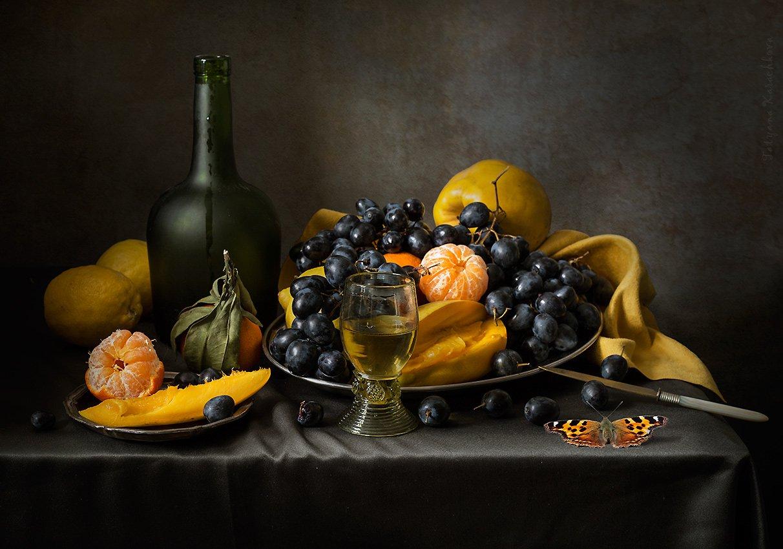манго, черный виноград, вино, мандарины, Карачкова Татьяна