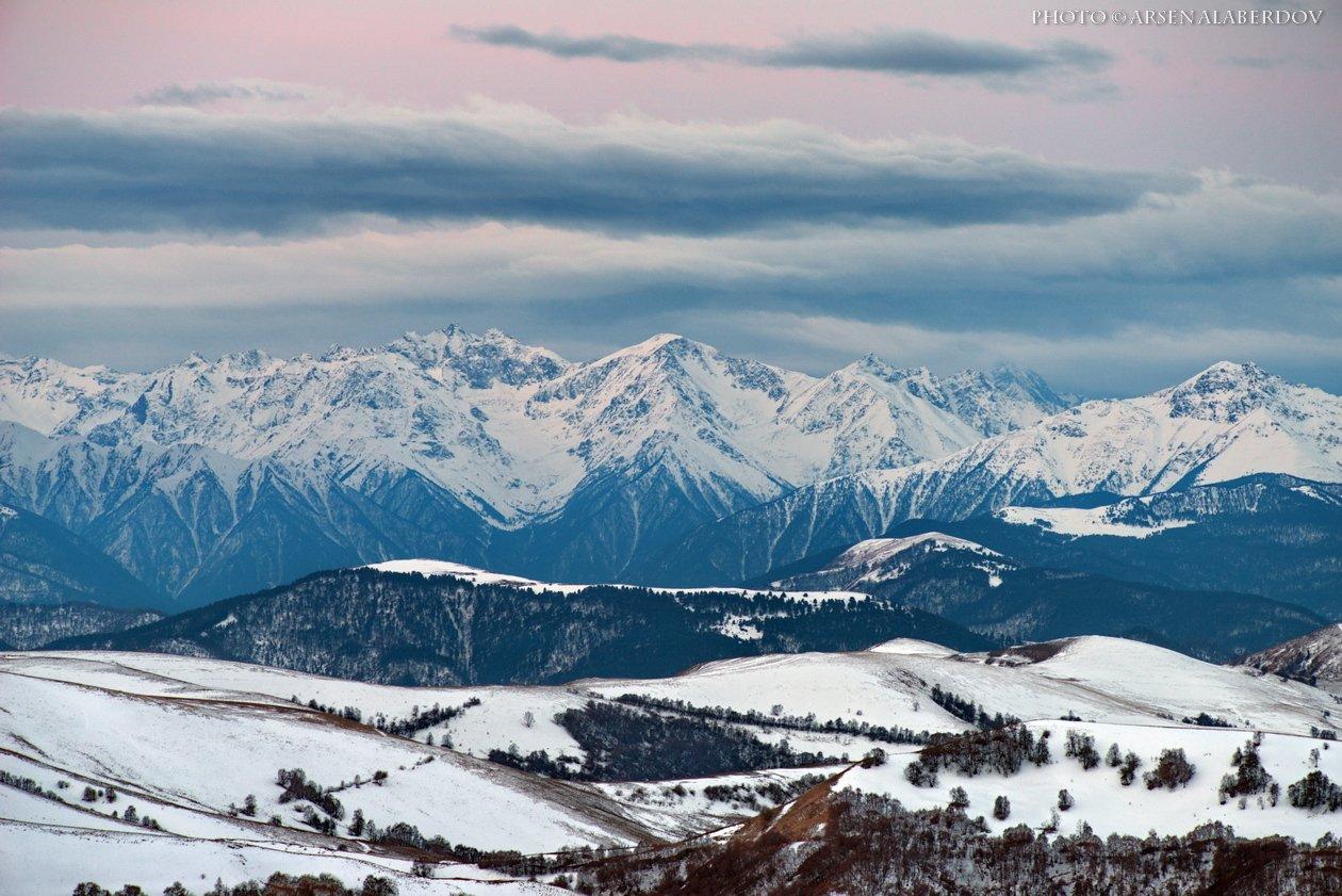 горы, предгорья, хребет, вершины, пики, снег, ночь,длинная выдержка, зима, скалы, холмы, долина, облака, путешествия, туризм, карачаево-черкесия, кабардино-балкария, северный кавказ, АрсенАл