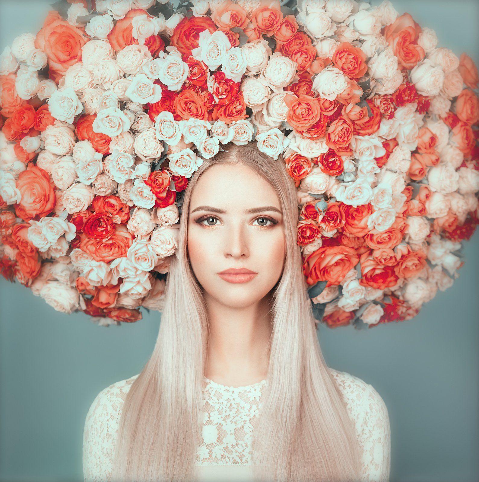 портрет,девушка,лицо,цветы,весна,арт,, Воронин Андрей