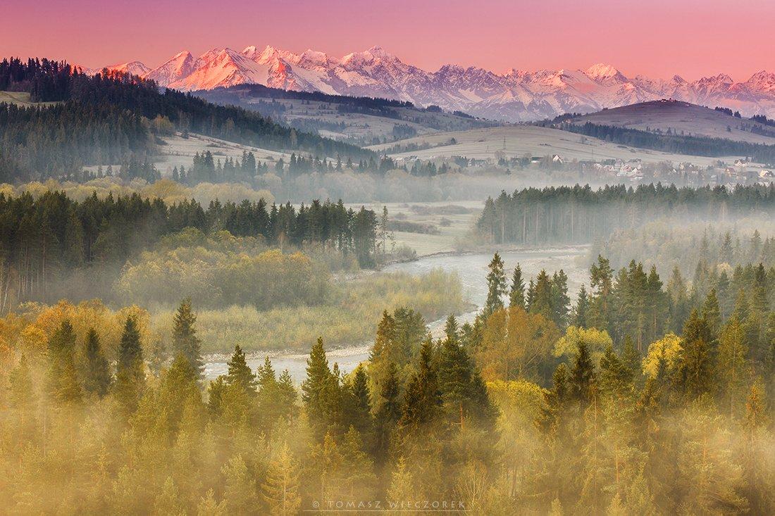 sunrise, spring, river, fog, mist, poland, tatras, tatry, mountains, colours, light, peaks, morning, snow, Tomasz Wieczorek