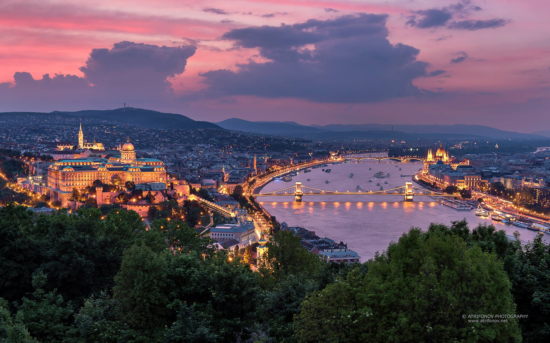 budapest, hungary, buda castle, szechenyi bridge, parliament, sunset, cityscape, city lights, Andrey Trifonov