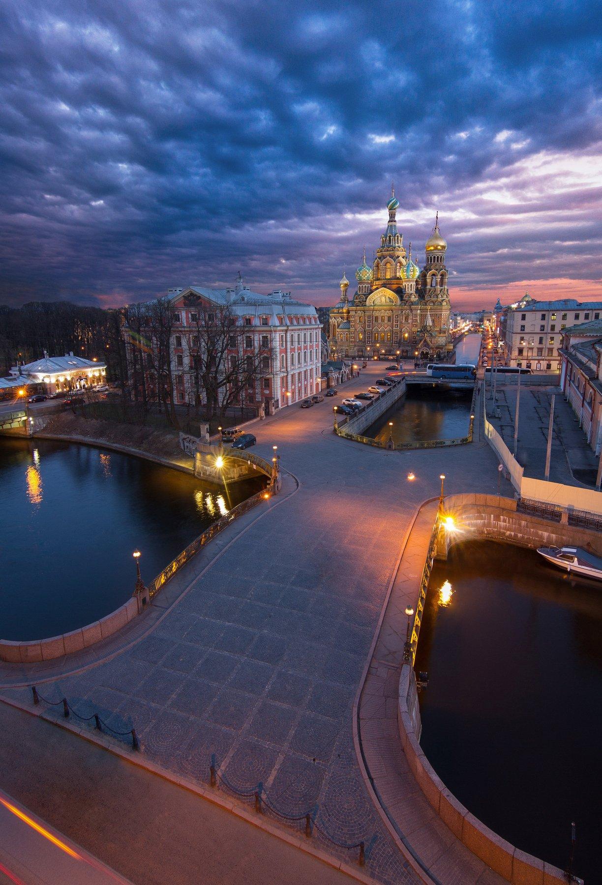 Санкт-Петербург, крыша, закат, церковь, Голубев Алексей