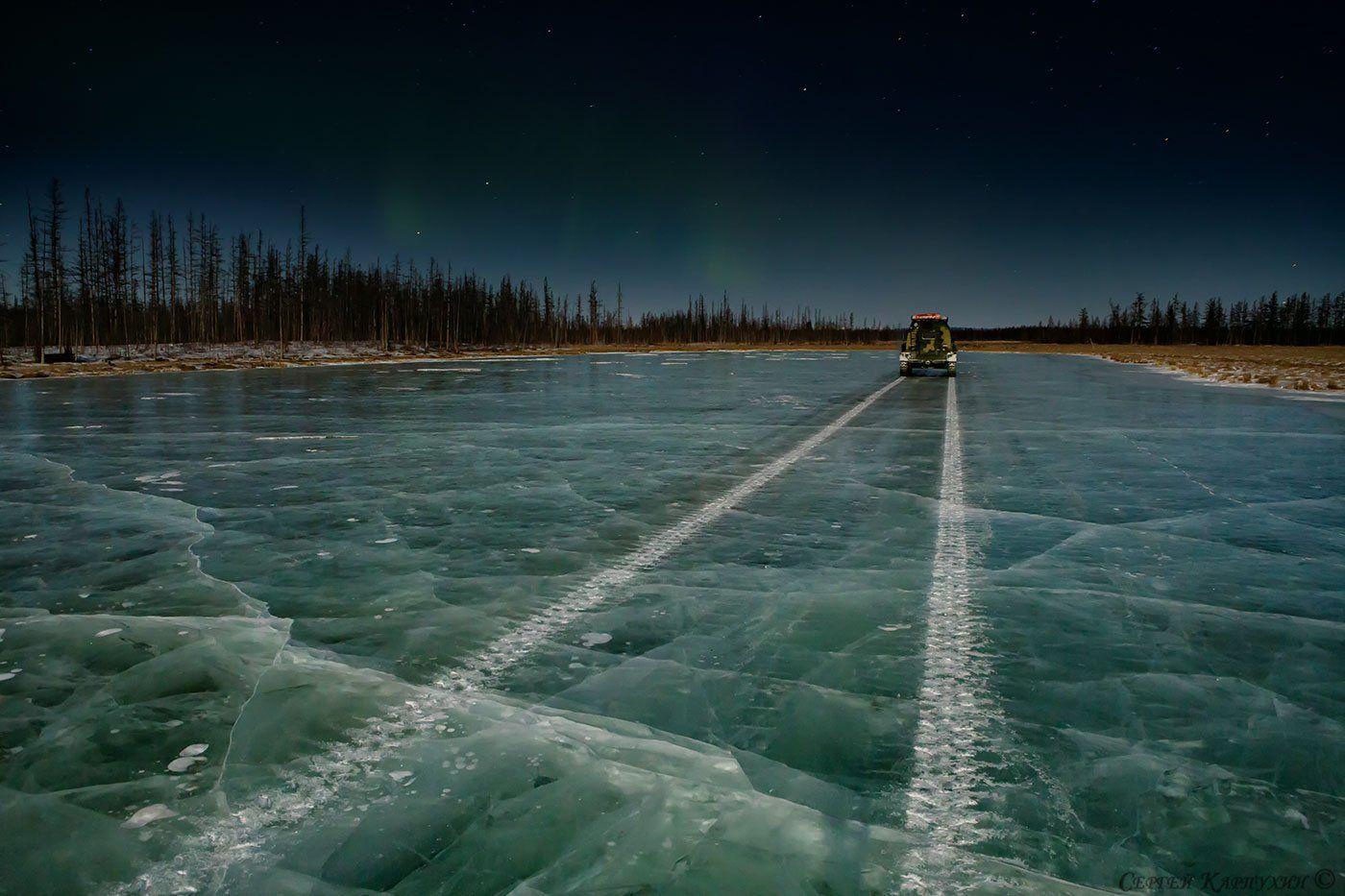 якутия, ночь, лёд, зима, Сергей Карпухин