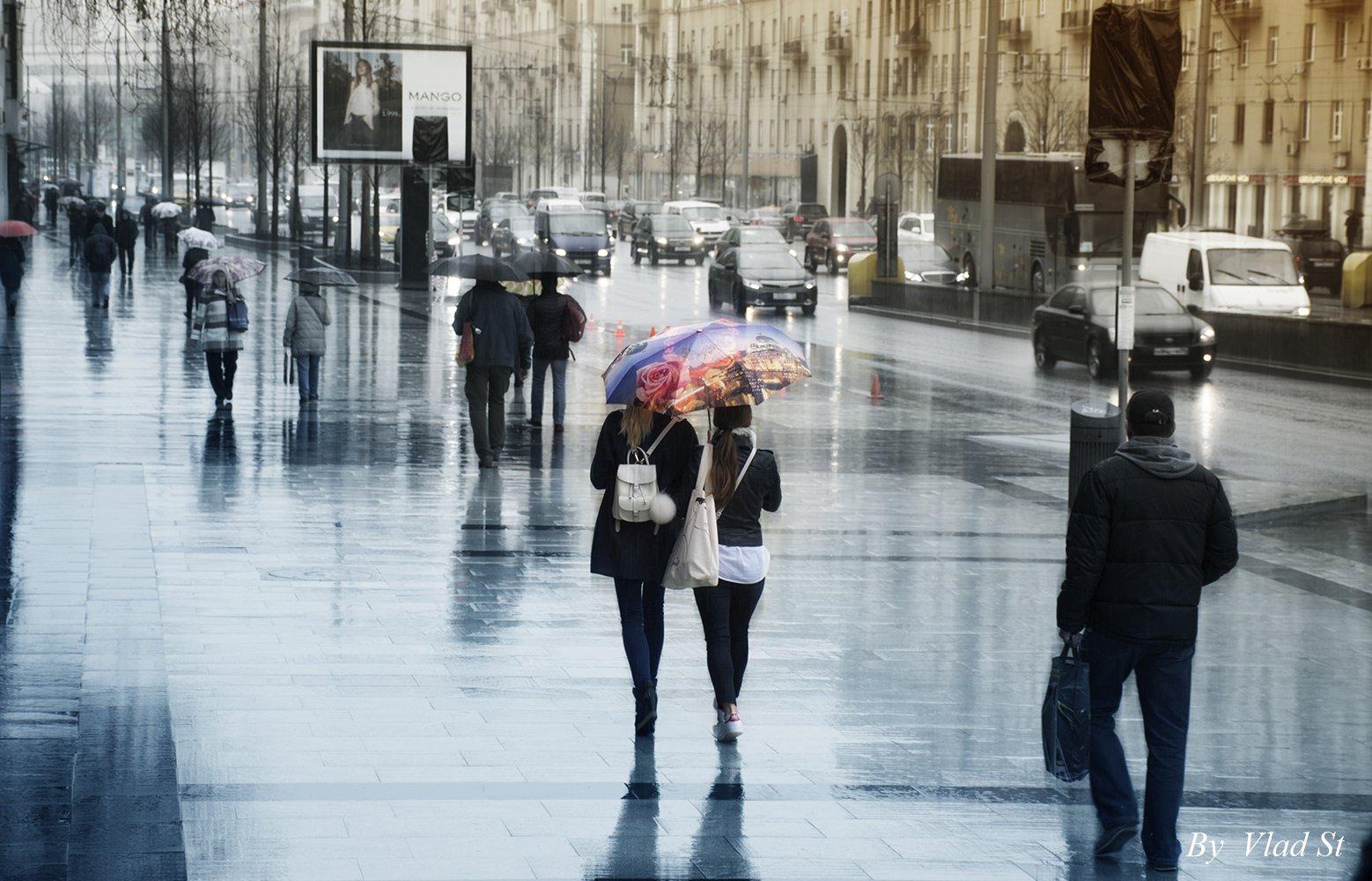 Прогулка, улица, весна, сырость, вода, дождь, день, город, улица, люди, Walk, street, spring, damp, water, rain, day, city, street, people, Владлен Станиславенко