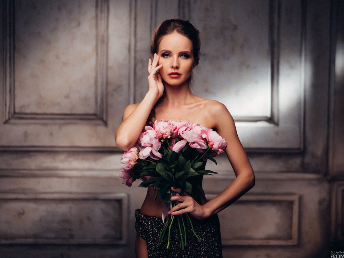 портрет,  пионы,  цветы,  обнаженнаянатура, Дарья Булавина